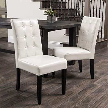 Latest Ivory Leather Dining Chairs Inside Amazon – Gillian Ivory Leather Dining Chairs (Set Of 2) – Chairs (View 13 of 20)