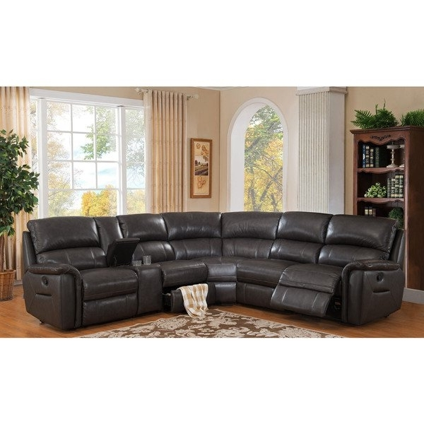 Latest Kristen Silver Grey 6 Piece Power Reclining Sectionals Pertaining To Shop Hydelineamax Camino Charcoal Grey Leather Reclining (View 6 of 15)