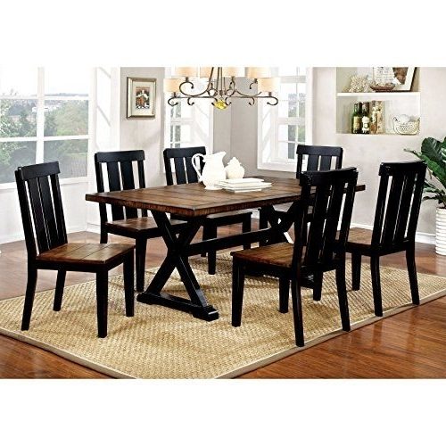 Latest Magnolia Home Array Dining Tables By Joanna Gaines Pertaining To Furniture Of America Lara Farmhouse Style 7piece Twotone Antique Oak (View 19 of 20)