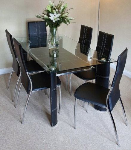 Latest Montana Black, Chrome And Clear Glass Dining Table And 6 Chairs Within Clear Glass Dining Tables And Chairs (View 9 of 20)