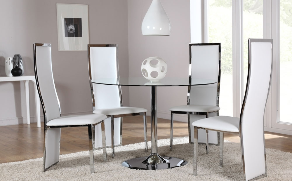 Latest Orbit & Celeste Round Glass & Chrome Dining Room Table And 4 Chairs With Chrome Dining Room Sets (View 10 of 20)