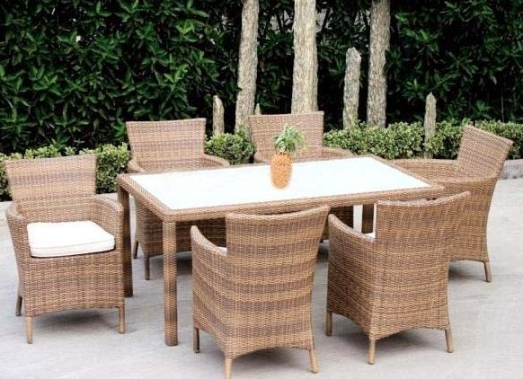 Latest Outdoor Wicker/rattan Dining Set With Fabric Cushions – Wf 6068 Regarding Rattan Dining Tables (View 6 of 20)