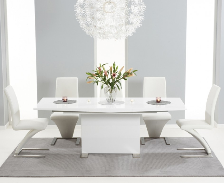 Latest Oval White High Gloss Dining Tables Throughout Marila 150Cm White High Gloss Dining Table With 6 Hereford White (Gallery 7 of 20)