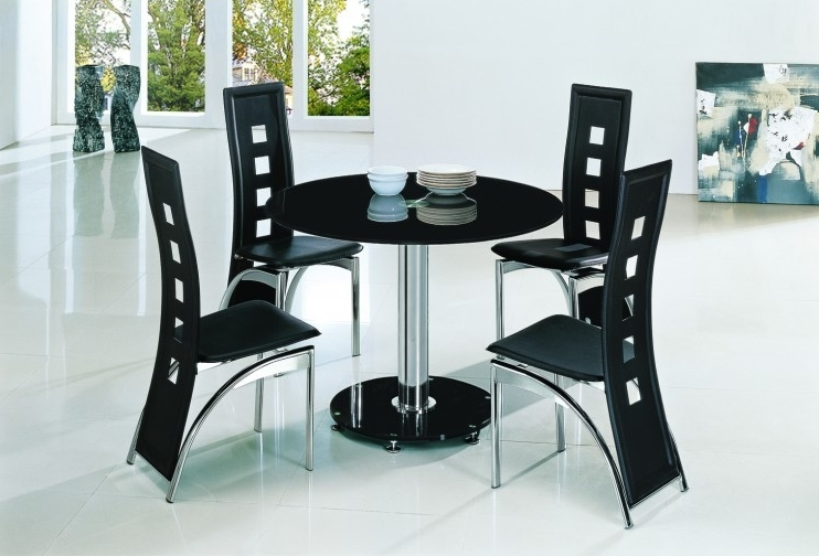 Latest Planet Black Round Glass Dining Table With Alison Chairs In Black Glass Dining Tables (View 18 of 20)