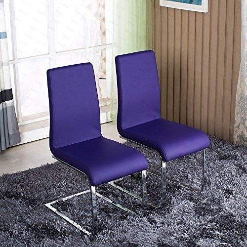 Latest Purple Faux Leather Dining Chairs Within Best Price For Schindora 2X Dining Chair Faux Leather Dining Chairs (Gallery 7 of 20)
