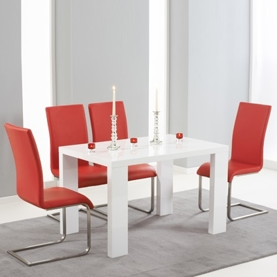 Latest Red Gloss Dining Tables For Metro High Gloss White 120cm Dining Table With 4 Milan Red Chairs (View 19 of 20)