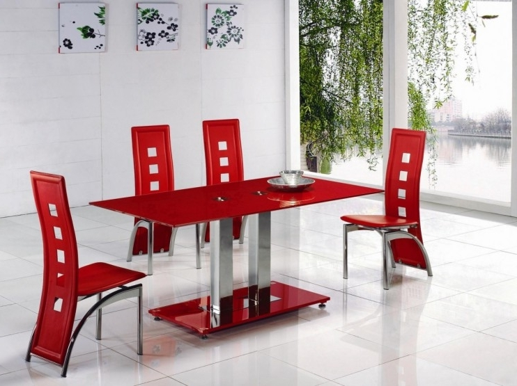 Latest Red Gloss Dining Tables With Alba Small Red Glass Dining Table With Alison Dining Chair (View 3 of 20)