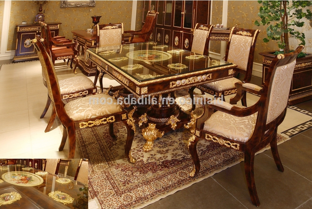 Latest Royal Dining Tables In Luxury French Baroque Style Dining Room Sets/ Antique Brown (View 6 of 20)