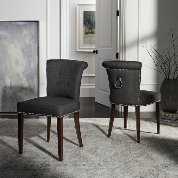Latest Shop Safavieh En Vogue Dining Carrie Charcoal Grey Dining Chairs Throughout Grey Dining Chairs (View 11 of 20)