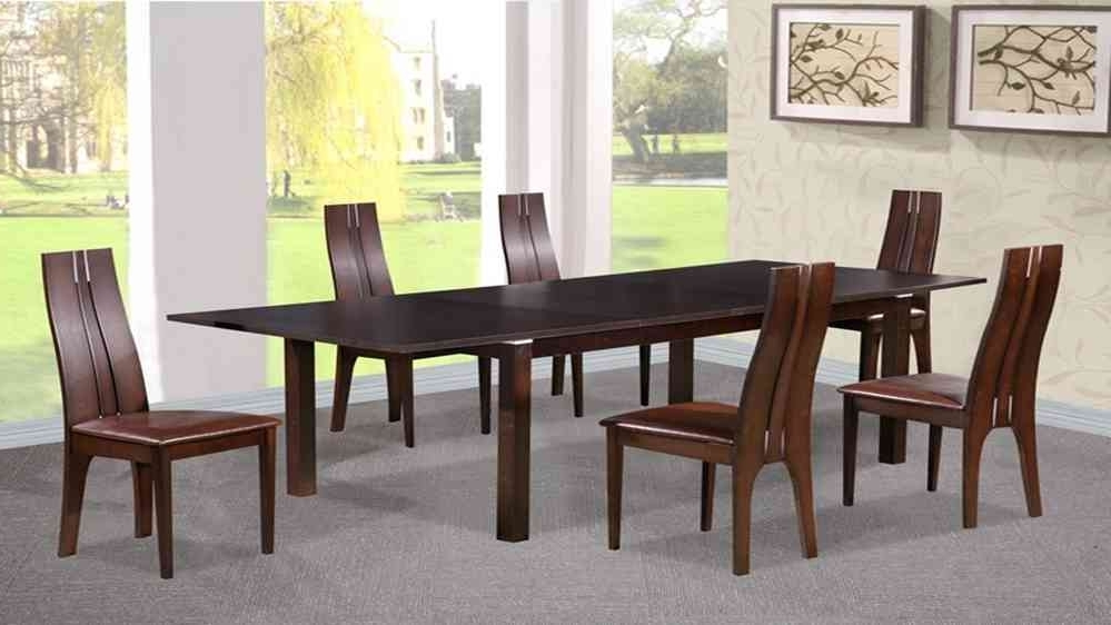 Latest Walnut Dining Tables And 6 Chairs Regarding Dining Table And 6 Chairs In Beechwood Dark Walnut – Homegenies (Gallery 20 of 20)