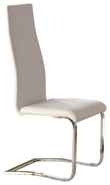 Latest White Faux Leather Dining Chairs With Chrome Legs, Set Of 2 Inside Chrome Dining Chairs (View 11 of 20)