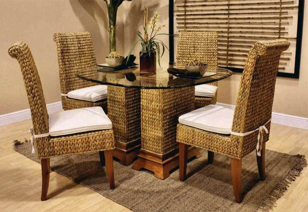 Latest Wicker And Glass Dining Tables With Regard To Dining Table With Wicker Chairs Rattan Chair Dark Wood And Bamboo (View 19 of 20)