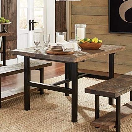 Latest Wood Dining Tables Inside Amazon – Pomona Metal And Reclaimed Wood Dining Table – Tables (View 12 of 20)
