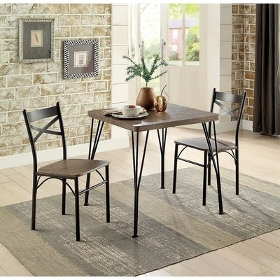 Laurel Foundry Modern Farmhouse Guertin 3 Piece Dining Set Chair Inside Most Up To Date Combs 5 Piece Dining Sets With  Mindy Slipcovered Chairs (View 13 of 20)