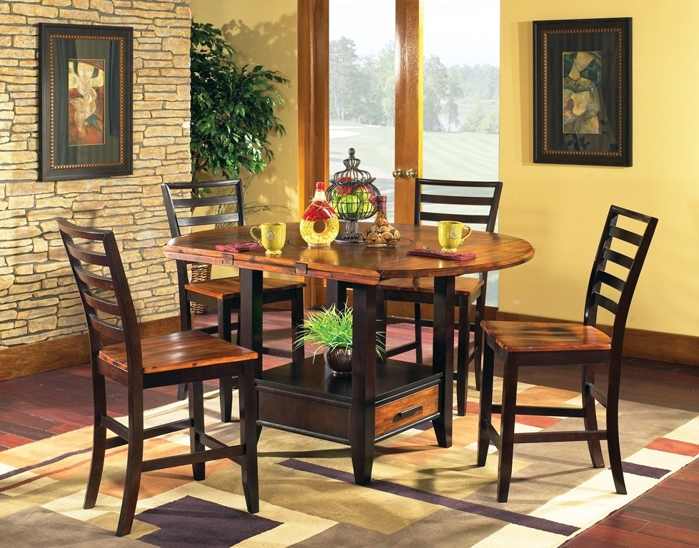 Laurent 5 Piece Round Dining Sets With Wood Chairs For Favorite Abaco Drop Leaf Dining Set – Steve Silver Co (Gallery 8 of 20)