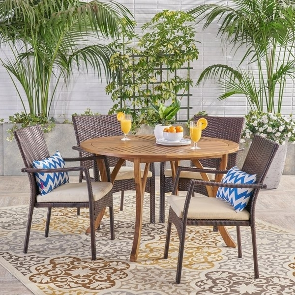 Laurent 5 Piece Round Dining Sets With Wood Chairs With Regard To Favorite Shop Baldwin Outdoor 5 Piece Acacia Wood And Wicker Dining Set (Gallery 7 of 20)