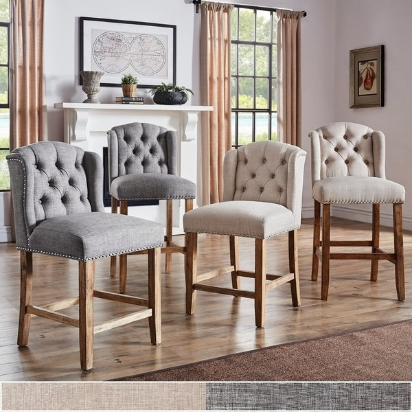 Laurent 7 Piece Counter Sets With Upholstered Counterstools For Most Recent Shop Lakin Tufted Linen Upholstered Stool (Set Of 2)Inspire Q (Gallery 3 of 20)