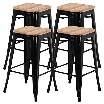 Laurent 7 Piece Counter Sets With Wood Counterstools Inside Current Amazon: Yaheetech 26 Inches Counter Height Metal Bar Stools Set (View 7 of 20)