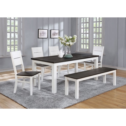 Laurent 7 Piece Rectangle Dining Sets With Wood And Host Chairs With Regard To 2018 Lauren Traditional 6 Seating Rectangular Casual Dining Table – White (View 9 of 20)