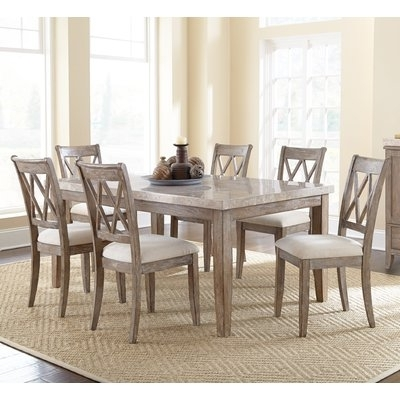Laurent 7 Piece Rectangle Dining Sets With Wood And Host Chairs With Regard To Well Liked Lark Manor Portneuf 7 Piece Dining Set In  (View 10 of 20)