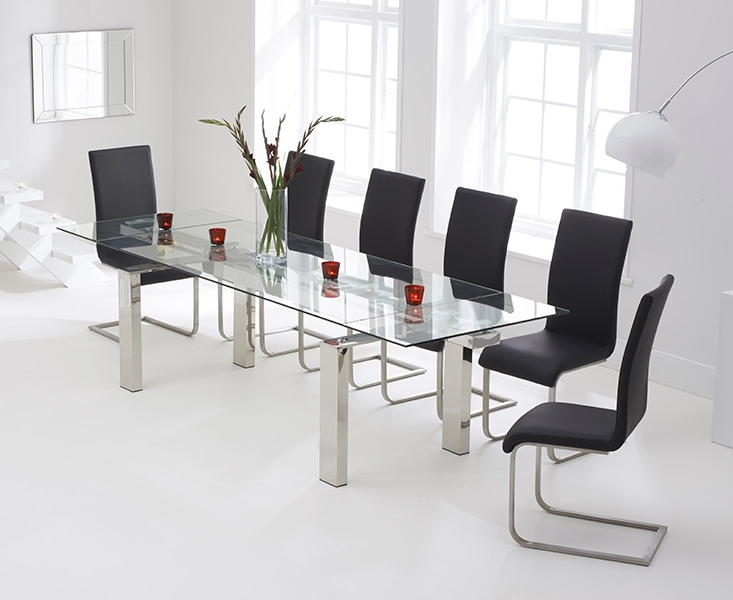 Lazio 200cm Glass Extending Dining Table With Malaga Chairs With Regard To Most Up To Date Lazio Dining Tables (View 3 of 20)