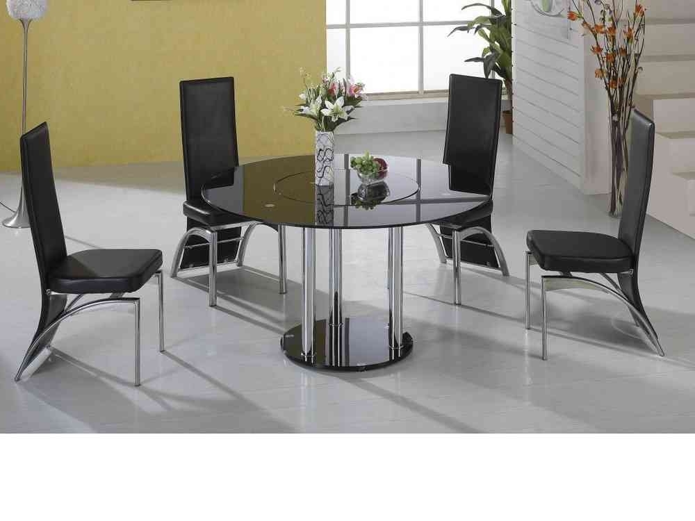 Lazy Susan Round Black Glass Dining Table And 4 Black Faux Chairs With Regard To Most Current Black Glass Dining Tables (View 9 of 20)