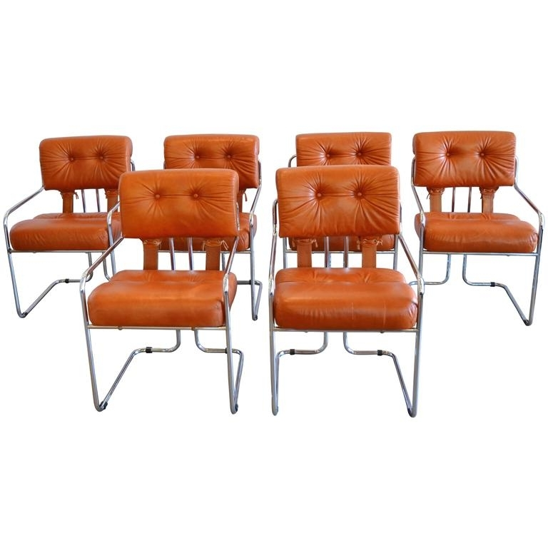 Leather And Chrome Tucroma Dining Chairs For Pace, Set Of Six At 1Stdibs Within Latest Chrome Dining Chairs (View 12 of 20)