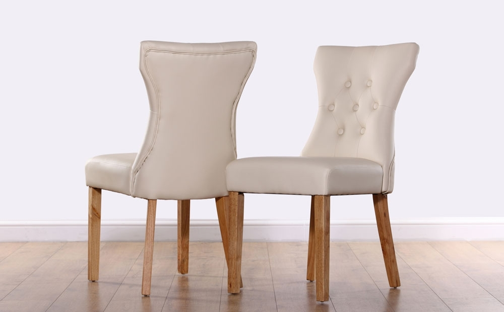 Leather Dining Chairs Within Latest 2 4 6 8 Bewley Ivory Leather Dining Room Chairs Oak Leg (View 13 of 20)