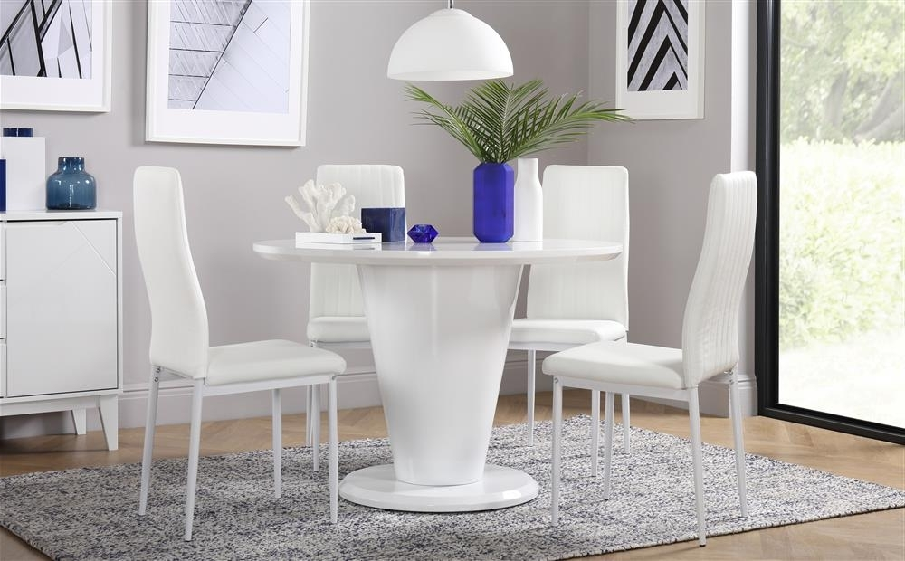 Leon Dining Tables Within Widely Used Paris White High Gloss Round Dining Table And 4 Chairs Set (leon (View 19 of 20)