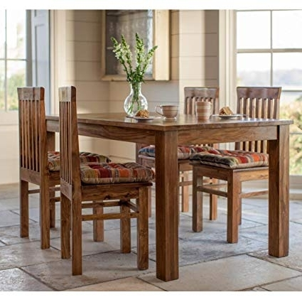 Lifeestyle Handcrafted Sheesham Wood Dining Set With 4 Chairs Within Fashionable Sheesham Dining Tables And 4 Chairs (View 17 of 20)