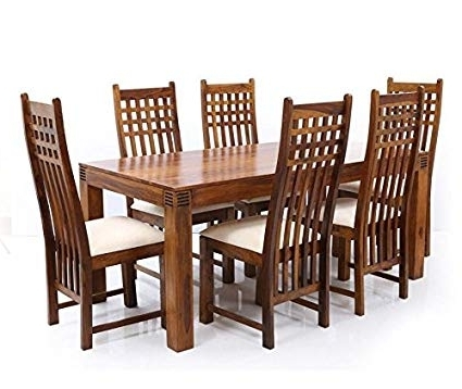 Lifeestyle Sheesham Wood Dining Table With 6 Chair (Brown, Standard With Recent Sheesham Wood Dining Tables (View 6 of 20)