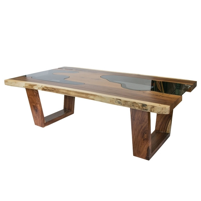 Live Edge Solid Wood Slab Dining Table With Glass Inserts In Well Liked Wood Glass Dining Tables (View 9 of 20)