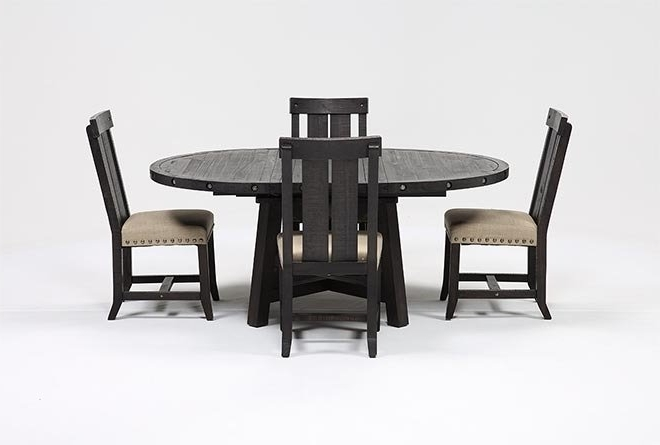 Living Spaces Inside Jaxon 5 Piece Round Dining Sets With Upholstered Chairs (View 13 of 20)