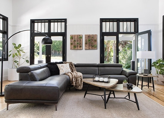 Living Spaces Regarding Clyde Grey Leather 3 Piece Power Reclining Sectionals With Pwr Hdrst & Usb (View 7 of 15)