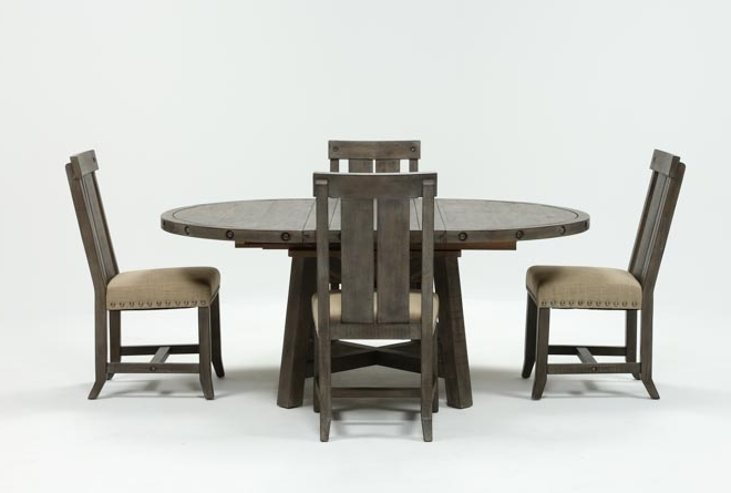 Living With Most Current Jaxon Grey 5 Piece Round Extension Dining Sets With Upholstered Chairs (View 16 of 20)
