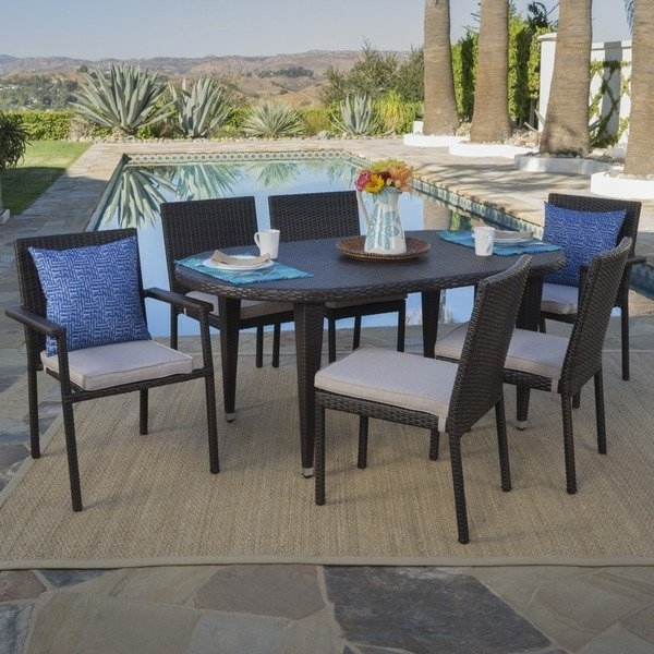 Logan 7 Piece Dining Sets With Well Known Shop Logan Outdoor 7 Piece Oval Wicker Dining Set With Cushions (View 7 of 20)
