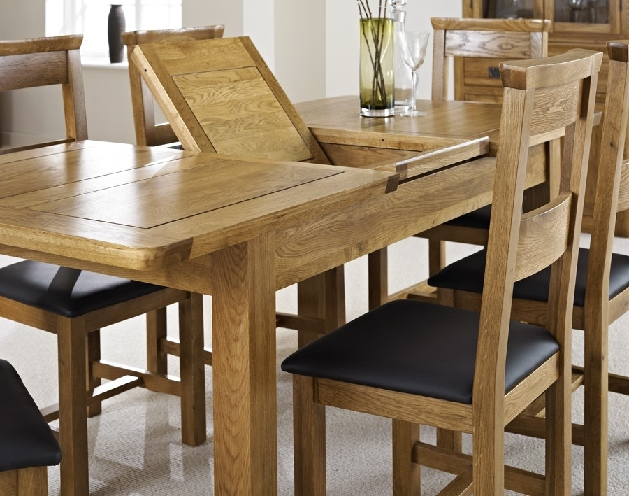 London Dark Oak Extending Dining Table With Four Chairs – Package With Regard To Best And Newest Extendable Dining Tables And Chairs (Gallery 5 of 20)