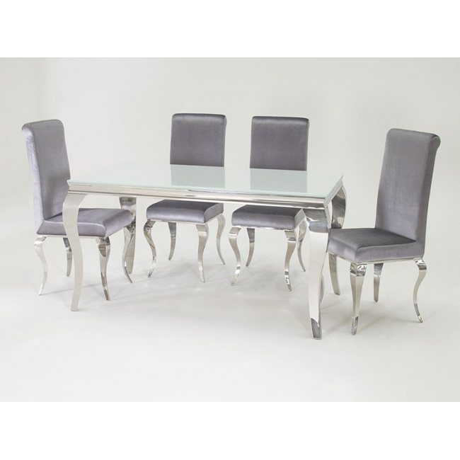 Louis 160Cm White And Chrome Dining Table With 6 Sliver Chairs For Well Known Chrome Dining Tables (View 10 of 20)