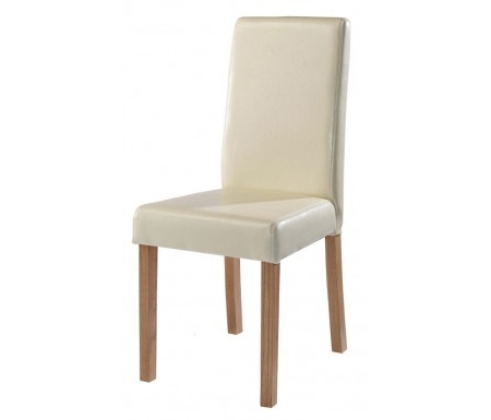 Lpd Oakridge Cream Faux Leather Dining Chair Regarding Trendy Cream Faux Leather Dining Chairs (View 9 of 20)