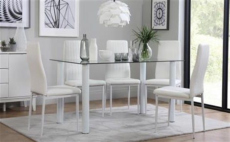 Lunar Glass Dining Table With 6 Leon White Chairs Only £ (View 8 of 20)