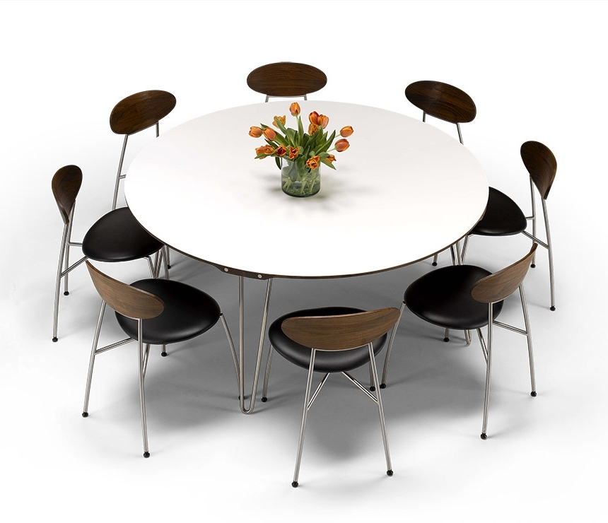 Luxury Danish Modern Round Dining Table – Dm6690 – Wharfside For Most Popular White Circular Dining Tables (View 10 of 20)