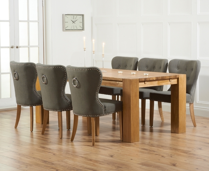 Madrid 200Cm Solid Oak Dining Table With Knightsbridge Chairs Pertaining To Widely Used Dining Tables And Fabric Chairs (View 13 of 20)