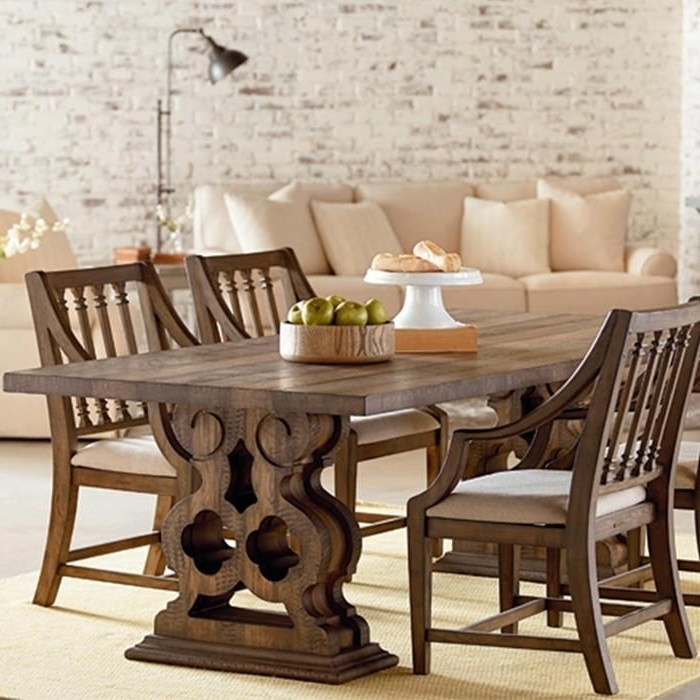 Magnolia Home Shop Floor Dining Tables With Iron Trestle Regarding Widely Used Magnolia Home Traditional Double Pedestal Table In Shop Floor (View 6 of 20)