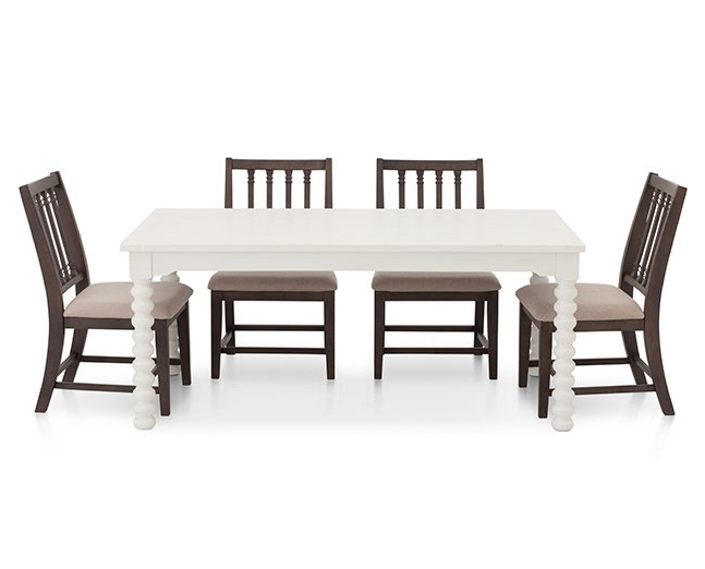 Magnolia Home Taper Turned Jo's White Gathering Tables Pertaining To Trendy Magnolia Home Spool Leg 5 Pc (View 16 of 20)