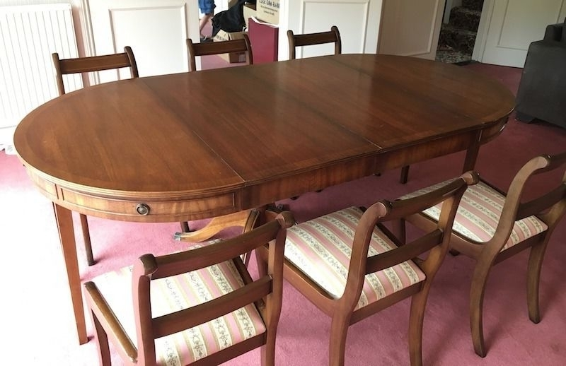 Mahogany Bevan Funnell Antique Style Extending Dining Table And 6 Regarding Preferred Mahogany Extending Dining Tables And Chairs (View 14 of 20)