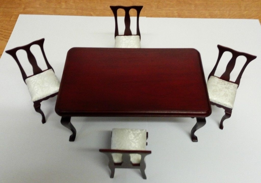 Mahogany Dining Tables And 4 Chairs In 2018 New In Box Dolls House Mahogany Dining Table & 4 Chairs With Dralon (View 8 of 20)