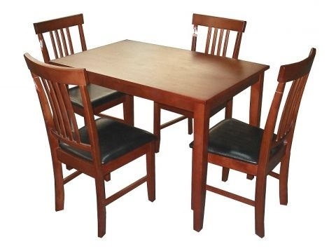 Mahogany Dining Tables And 4 Chairs Regarding Popular Massa Solid Rubberwood Dining Table In Mahogany With 4 Or 6 Chairs (View 9 of 20)