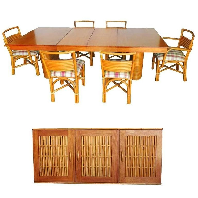 Mahogany Dining Tables Sets Within Well Known Rare Restored Mid Century Rattan And Mahogany Dining Set With (View 17 of 20)