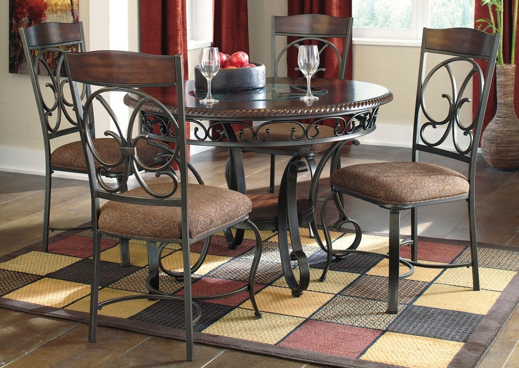 Major Discount Furniture Glambrey Round Dining Table W/4 Side Chairs For Latest Craftsman 5 Piece Round Dining Sets With Side Chairs (View 19 of 20)