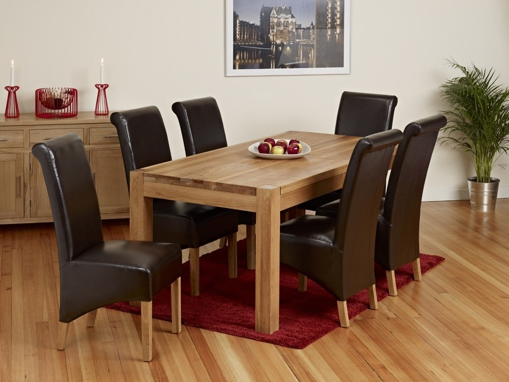 Malaysian Wood Dining Table Sets Oak Dining Room Furniture Velvet Inside Widely Used Oak Dining Tables And Leather Chairs (View 11 of 20)